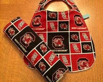 USC Bib and Burp Cloth Set-Garnet and Black Bib and Burp Cloth Set- Sports Team Baby Bib-Burp Cloth-Baby Shower Gift-Handmade Baby Item-Bibs