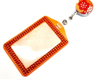 SALE !!!! Orange Flower Fabric Button Retractable ID Badge Reel & Sparkle Rhinestone Vertical ID Badge Holder Set
