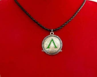 Spartan Warrior Shield With Green Enamel Leather Cord Necklace Pendant