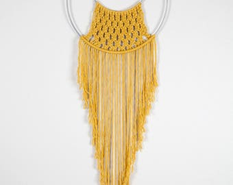 Yellow Macrame Hoop Wall Hanging