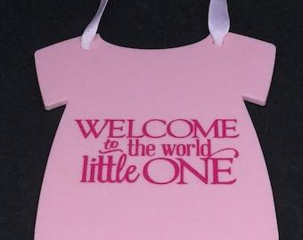 New Baby Plaque- Hanger-Onesie-Vest-Pink Acrylic- Baby Shower, Baby Girl.