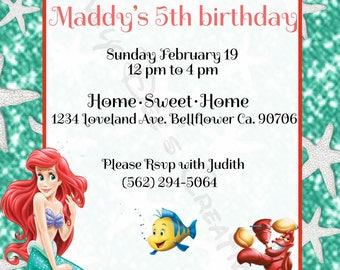 Disney Princess Ariel Birthday Invitation, Princess Ariel, Princess Ariel Invite