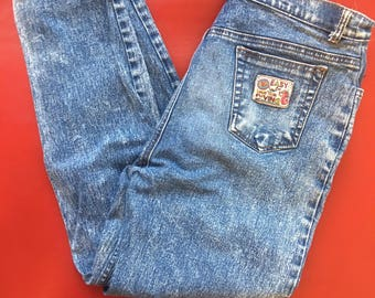 Rare Happy Forest Vintage 80s Acid Wash Denim Blue Jeans High Waist with Tapered Ankle Fits S M 4 6 28 Eighties