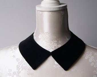 Black velvet collar necklace with ribbon pointed shape detachable removeable accessories for women two-sided plain peter pan classic minimal