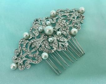Bridal Pearl Headpiece, Wedding Pearl Headpiece, Wedding Pearl Comb, Swarovski Pearl Headpiece, Pearl Hair Headband, Pearl Hair Headpiece