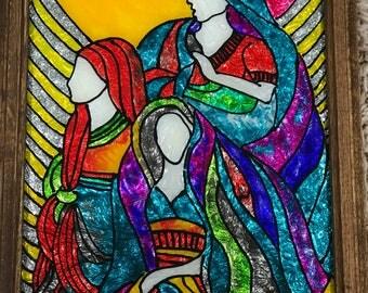 Glass painting, Modern art, Ladies, Vintage frame, Glass art, Glass wall art