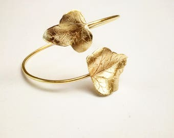 Handmade Sterling Silver Gold Dipped (24k) Arm Bracelet Ivy leaves