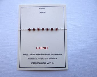 garnet sterling silver centered gem bracelet