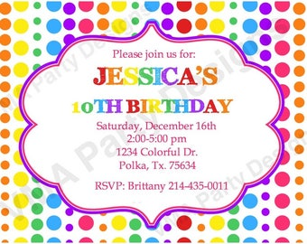 Printable Rainbow Birthday Invitation
