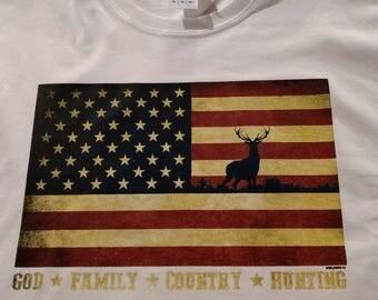Christian American flag shirt with deer