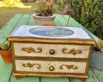 Vintage Victorian Style Music Jewelry  Wooden Box