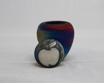 "Handmade 2"" Apple Top Raku Decorative Vase"