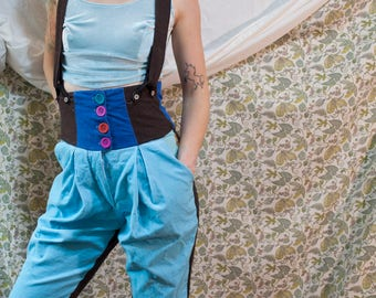 Handmade corduroy wool color block high waisted overall shorts