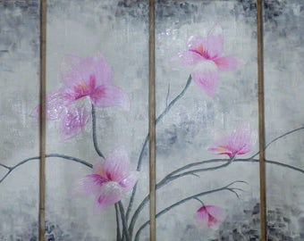 Pink magnolia - original abstract acrylic painting on canvas