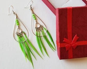 Bright Green Feather earring, Dangle earring.