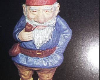 Papa gnome, large 4 1/4 in.tall. 11 ounces. idividualy hand cast in the finest lead-free pewter available, Hand painted in fort gratiot mich