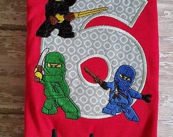 Ninjago Embroidered Birthday Shirt **Fast Shipping**