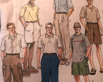 Great Pattern for Men's Cargo Pants, Cargo Shorts or Belted Trousers---McCalls 2075---Size 34  UNCUT