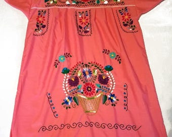 Large - Salmon (Short/Above Knee) Mexican Dress