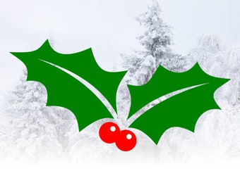 Holly SVG Christmas cut file for Cricut & Silhouette - SVG Holly with leaves and berries - Christmas SVG files
