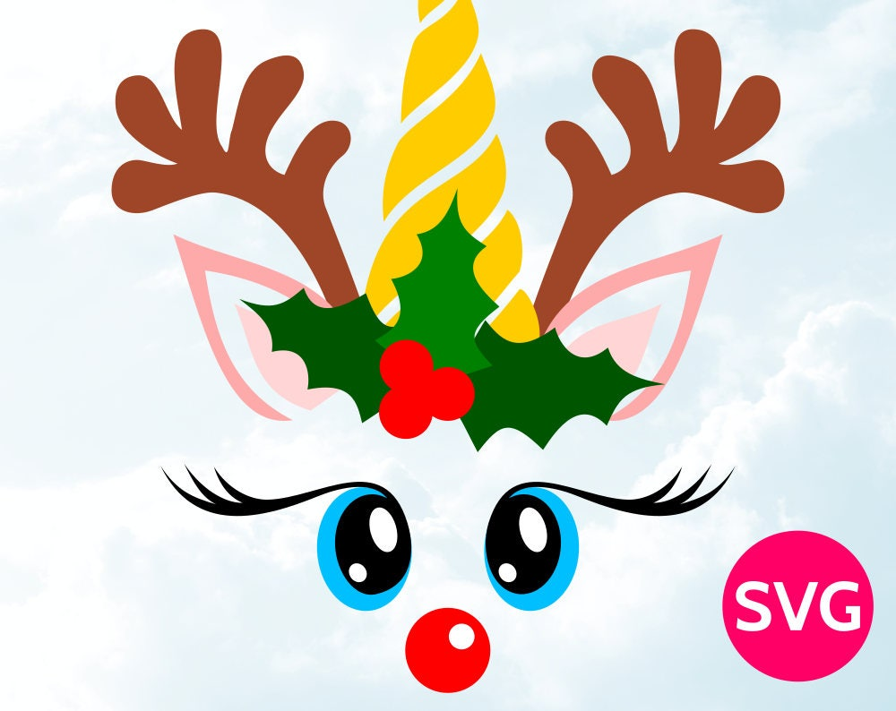 Unicorn Reindeer Face SVG - Cool unicorn with antlers ...