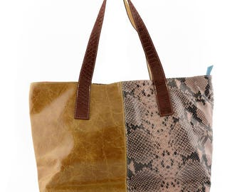 Genuine Leather Patchwork Shopper