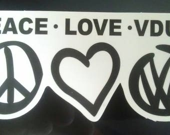 Peace Love Vdub sticker VW Volkswagen Beetle Cool