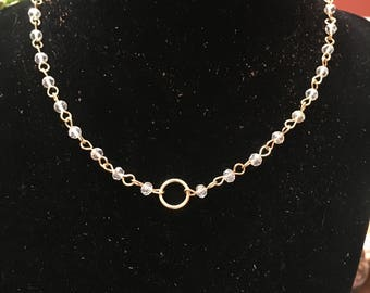 Gold and Clear Circle Necklace