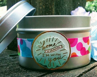 Maple syrup scented soy candle in a 6 oz. tin