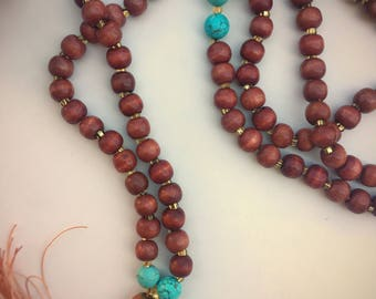 Mala Necklace - TRUE WISDOM, Mediation Beads, Prayer Beads, Mala Beads, 108 Beads - Wood and Turquoise with Leather Tassel.