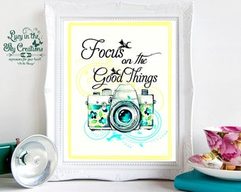 Focus on the Good things - Watercolor camera
