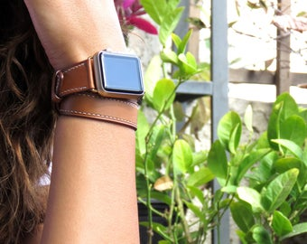 Double Tour Leather Apple Watch Band 38mm Apple Watch Band 42mm Apple Watch Strap Apple iWatch Strap Gingerbread Brown
