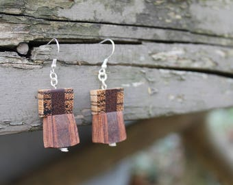 Wood Earrings Lightweight Earrings Wooden Jewelry Handmade Natural Wood Jewelry Earrings Wood Gift for Her Minimalist Gift Geometric Natural