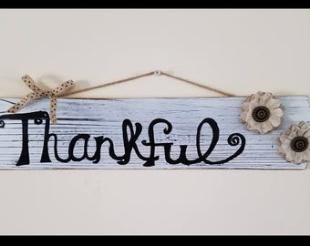 Thanksgiving decorations, Thankful decorations, Fall wreath, Thanksgiving wreath, Rustic decorations, Thankful sign, Wooden Thankful Sign