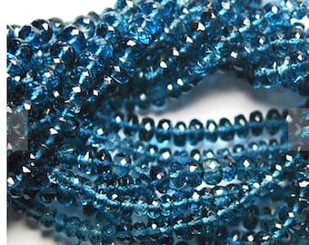 AAA London Blue Topaz Rondelles, London blue topaz beads, 6-7mm, Quantity 10