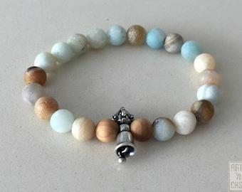 Beaded bracelet Amazonite and campaign Tibetan vajra silver Buddhist amulet wood