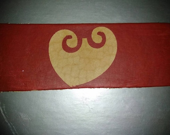 Red heart bookmark in leather