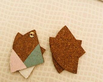 Cork Asymmetrical earrings