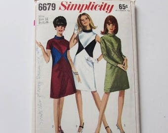 Woman's Vintage 1960's, Size 16 A-Line Dress with Contrast Simplicity 6679 - Used