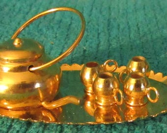 Vintage New Old Stock Dollhouse Miniature 6 piece Metal Tea Set (Teapot, 4 cups & Tray)