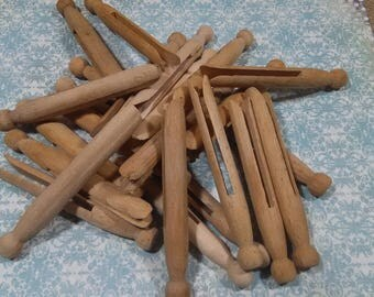 Vintage Wood Clothes Pins 24 Count (lot#23)