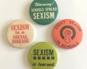 Feminist Fighting Sexism in Schools 4 Badge Set