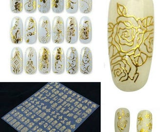 3d nail art etsy 1set goldsilver 3d nail art stickers decals patch metallic flowers designs stickers for nails prinsesfo Choice Image