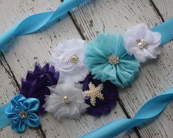Blue Purple white sash ,flower Belt, maternity sash, wedding sash, flower girl sash, maternity sash belt