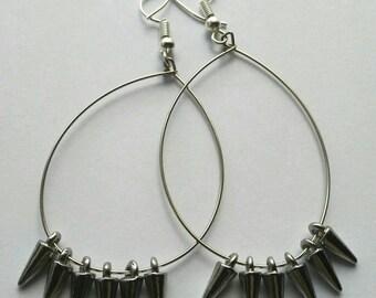 Spiked Sterling silver wire hoop Earrings, dangle hoop earrings, gift for her, silver earrings