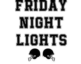 "SVG, DXF, PDF, png Cut file,""Friday Night Lights"", bluemoosesvg, silhouette cut file, Football svg, football, sports svg"