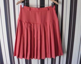 80's Vintage High Waist Pleated  Skirt/Pink Tapered Skirt