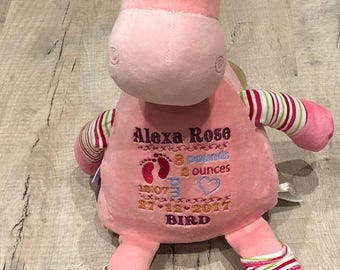 Personalised embroidered pink giraffe pastel cubbie