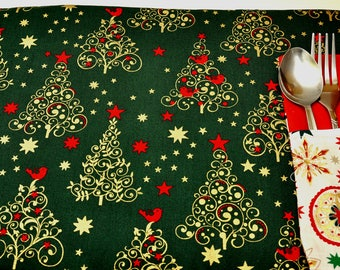 Christmas  placemats, Christmas trees design set of 4 or 6, place setting, set the table, place mat, dining table decorations