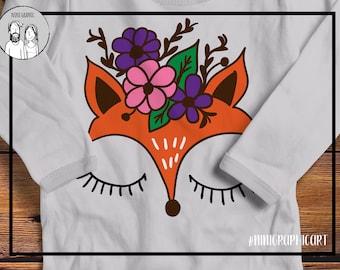 Fox svg, fox face svg, girl fox svg, woodland svg, SVG, DXF files, fox cricut file, baby svg, girl svg, Floral svg, woodland animals, deer